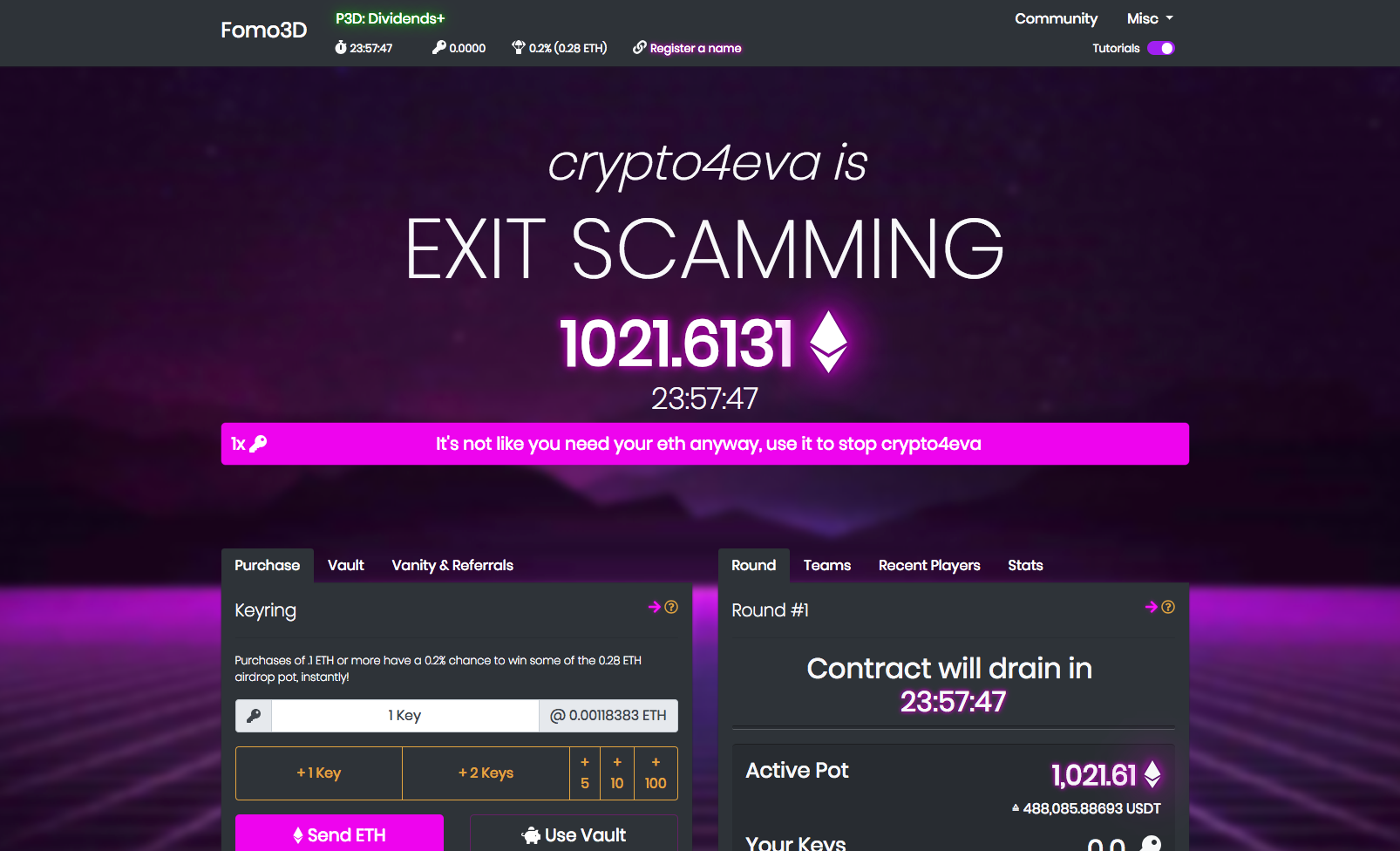Fomo3D's current pool holds around 1022 ETH (around $488k) and expires in 24h (Screenshot from Website)