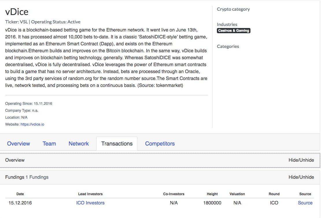 vDice Crypto Profile