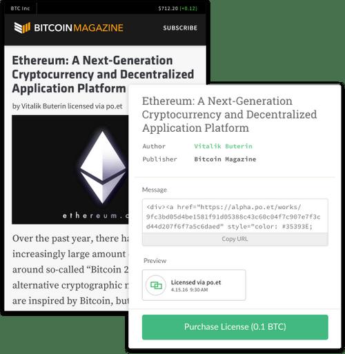 The Poet platform enables blockchain-based licensing of digital work (Source: Website-Screenshot)