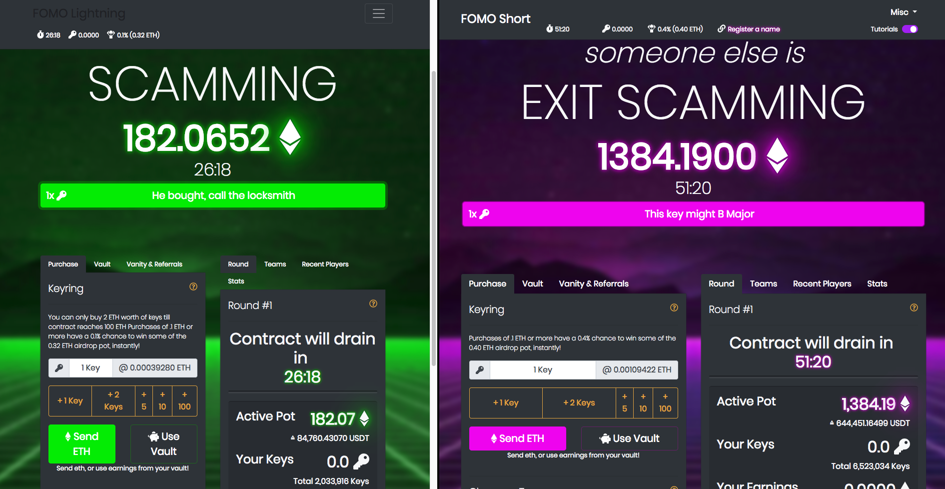 FOMO Short and FOMO Lightning next to each other (Source: Company Websites: Left: FOMO Lightning. and right FOMO Short)