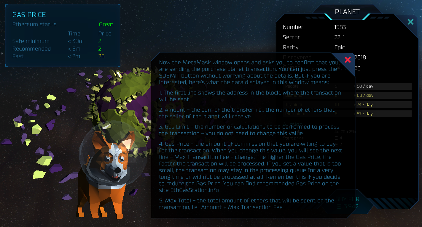 OxUniverse - a space exploration game. Many bonuspoints for the dog. (Source: Screenshot from Website)